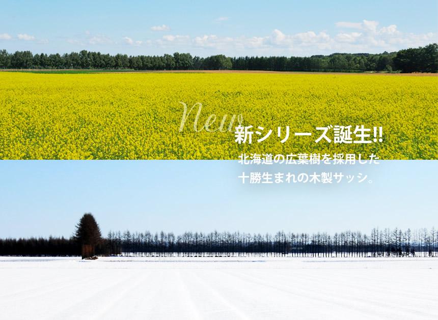 新シリーズ誕生!! 北海道の広葉樹を採用した 十勝生まれの木製サッシ。