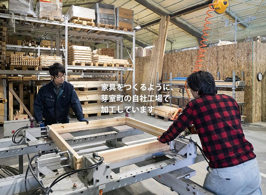 家具をつくるように、 芽室町の自社工場で 加工しています。